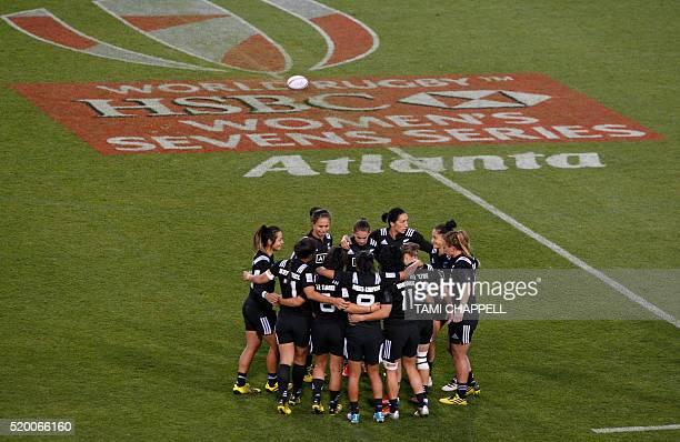 The New Zealand team takes the field as they prepare to play Australia at the Women's 2016 USA Sevens Rugby Tournament in Kennesaw Georgia on April 9...