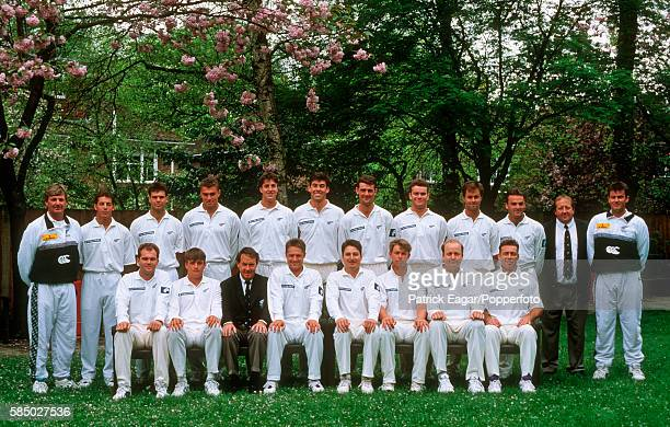 The New Zealand Touring Team at Lord's cricket ground in London 12th May 1994 Back row left to right Geoff Howarth Adam Parore Blair Hartland Heath...
