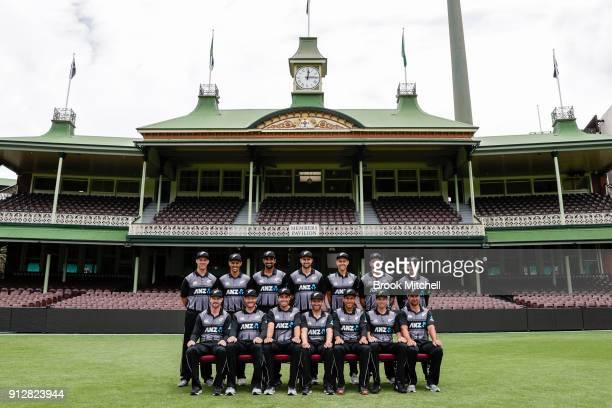 The New Zealand Twenty20 team poses during the New Zealand International Twenty20 headshots session at Sydney Cricket Ground on February 1 2018 in...