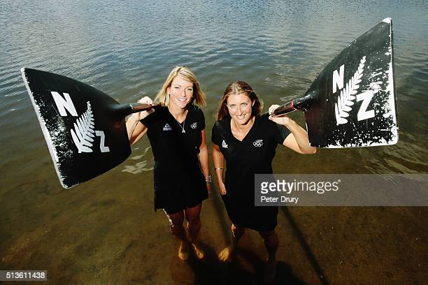 The New Zealand Womens Coxless Pair Genevieve Behrent and Reecca Scown pose for a portrait during the New Zealand Olympic Rowing Team Announcement at...