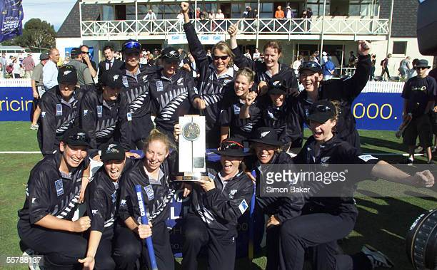 The New Zealand Womens Cricket celebrate their win in the Cricinfo World Cup final against Australia at the BIL Oval in LincolnNew Zealand won by 4...
