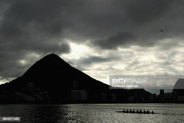 The New Zealand womens eight train on Lagoa Rodrigo de Freitas the site of the Olympic rowing venue for the 2016 Summer Olympic Games on July 31 2016...