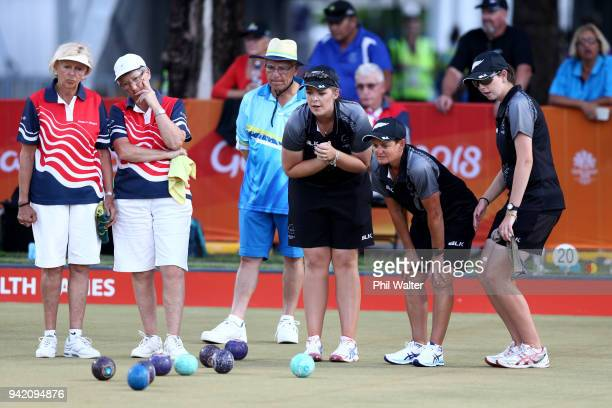 The New Zealand Womens Fours team of Katelyn Inch, Tayla Bruce, Val Smith and Mandy Boyd in their game against Jersey on day one of the Gold Coast...