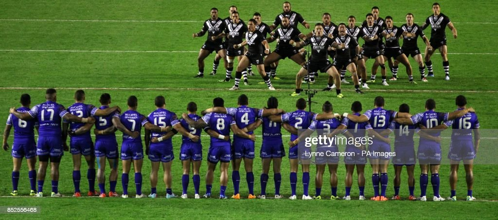 The New Zealand's team line up and perform the Haka before the 2013 World Cup match at the Halliwell Jones Stadium, Warrington.