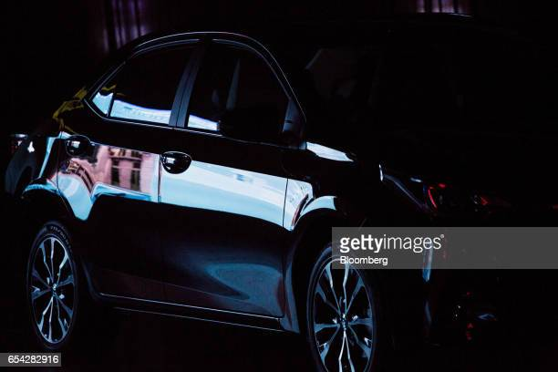 The new2018 Toyota Motor Corp. Corolla vehicle sits on display during the company's launch event in Sao Paulo, Brazil, on Thursday, March 16, 2017....