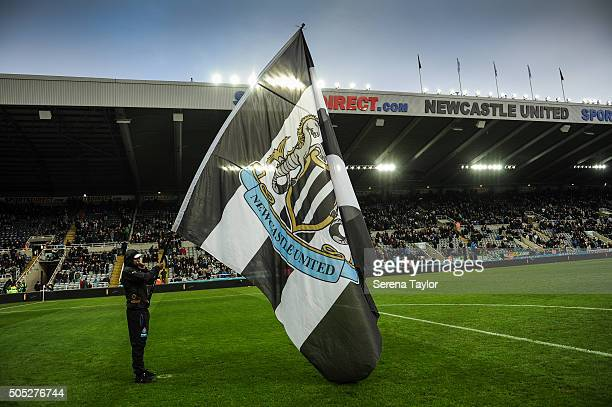The Newcastle flag held by a flag bearer in the lead up to the Barclays Premier League match between Newcastle United and West Ham United at StJames'...