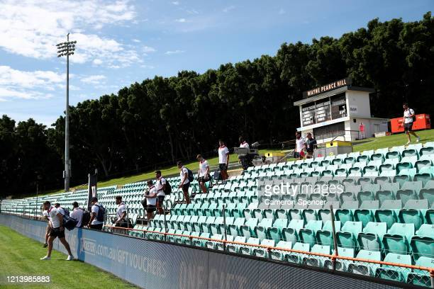 The Newcastle Knights arrive at Leichhardt Oval ahead of the round 2 NRL match between the Wests Tigers and the Newcastle Knights at Leichhardt Oval...