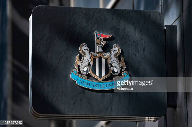 The Newcastle United club crest on display outside St James' Park, home of Newcastle United on August 20, 2020 in Newcastle, United Kingdom.