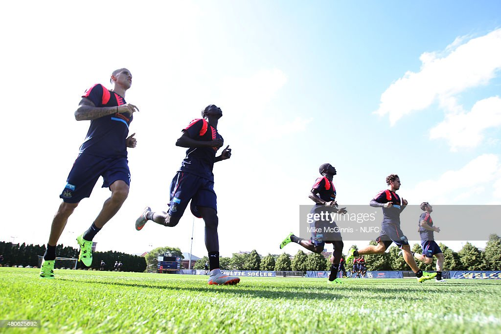 The Newcastle United during practice at Marquette University Valley Fields on July 13, 2015, in Milwaukee, Wisconsin.