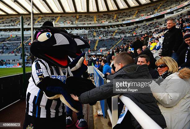 The Newcastle United mascots Maggie and Monty magpie greet fans prior to the Barclays Premier League match between Newcastle United and Arsenal at St...