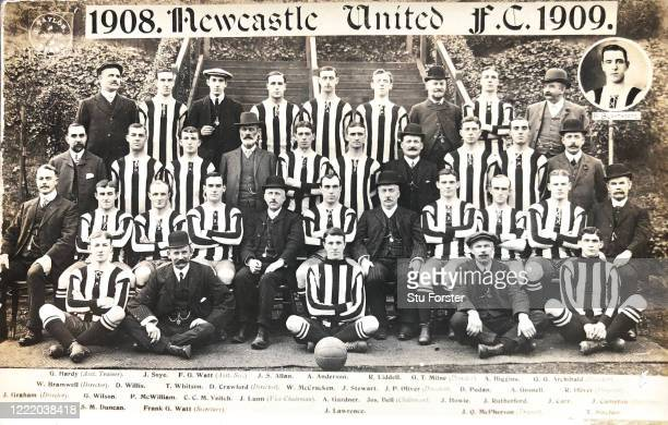 The Newcastle United squad pictured on a postcard ahead of their third First Division Championship season of 1908/09 included are big name players...