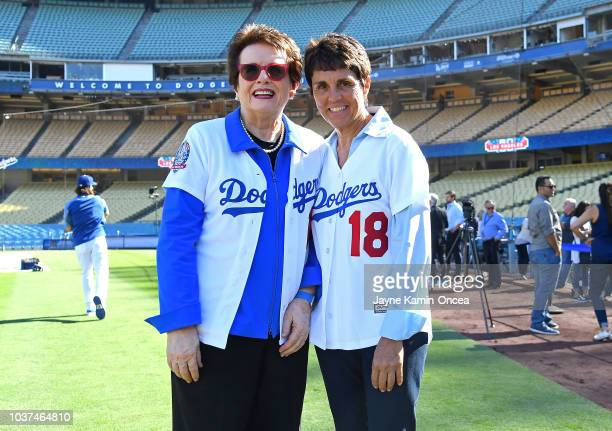 The newest members of the Los Angeles Dodgers ownership group Billie Jean King and Ilana Kloss on the field before the game against the San Diego...