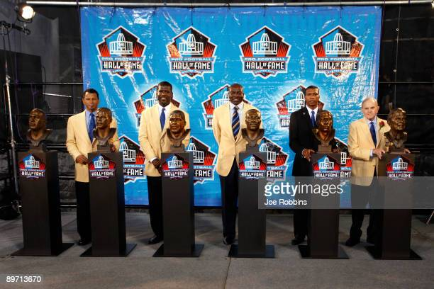The newest members of the Pro Football Hall of Fame Rod Woodson Randall McDaniel Bruce Smith Bob Hayes and Ralph Wilson Jr look on following the 2009...
