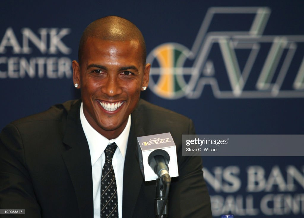 The newest player for the Utah Jazz, Raja Bell, answers reporters questions after being introduced at the Utah Jazz Zion's Basketball Center on July 19, 2010 in Salt Lake City, Utah.