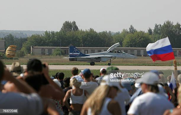 """The newest Russian MIG-35 jet fighter lands at the International Aviation and Space salon """"MAKS-2007"""" in Zhukovsky airfield, outside Moscow, 25..."""