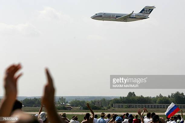 """The newest Russian passenger plane TU-334 performs at the International Aviation and Space salon """"MAKS-2007"""" in Zhukovsky airfield, outside Moscow,..."""