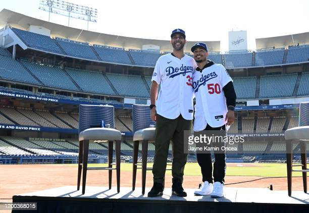 The newly acquired Los Angeles Dodgers Mookie Betts and David Price are introduced at a press conference at Dodger Stadium on February 12 2020 in Los...