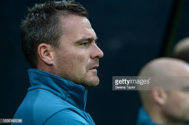The newly announced Newcastle United's Under 23 Goalkeeping Coach Steve Harper during the Premier League 2 Match between Newcastle United and...