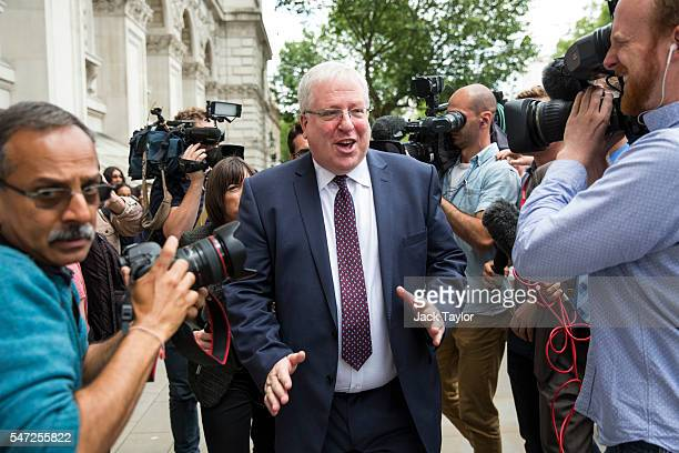 The newly appointed Chairman of the Conservative Party Patrick McLoughlin leaves Downing Street on July 14 2016 in London England The UK's New Prime...
