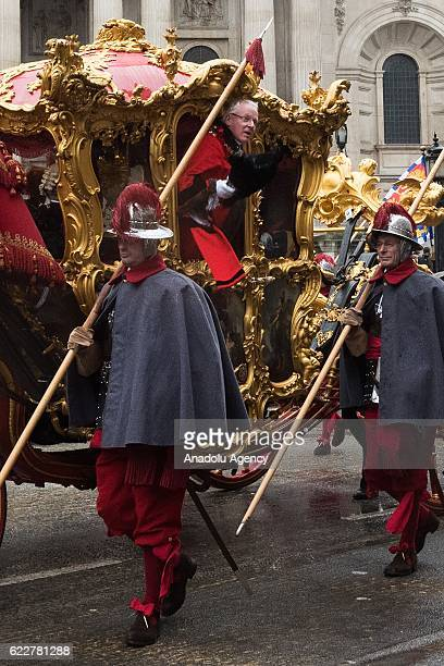 The newly appointed Lord Mayor of London Andrew Parmley sits in the 350 year old state coach during the Lord Mayor's Show in London United Kingdom on...