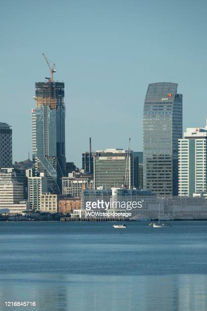 The newly completed Commercial Bay building and the nearly completed Pacifica on Auckland's skyline are seen on April 04, 2020 in Auckland, New...