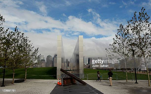 """The newly constructed """"Empty Sky Memorial"""" sits at Liberty State Park on September 7, 2011 in Jersey City, New Jersey. The concrete and steel """"Empty..."""