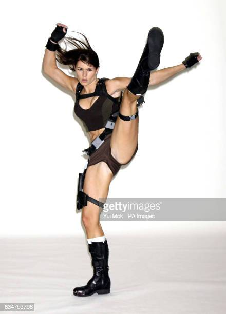 The newly crowned face of Lara Croft Alison Carroll aged 23 from Croydon appears before the media for the first time at Pineapple Dance Studios in...