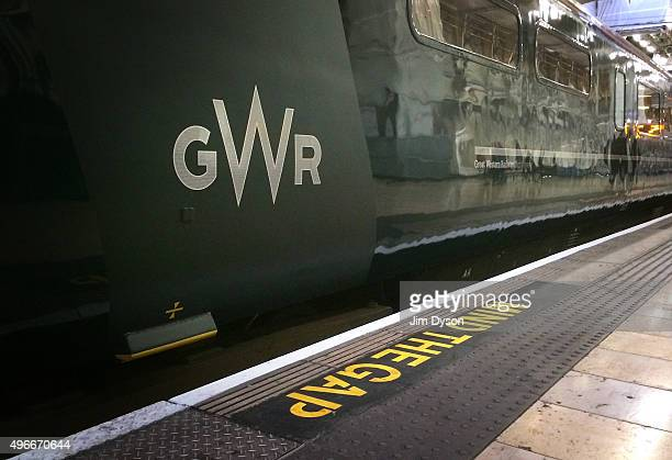 The newly designed GWR logo adorns a coach at Paddington station on November 11 2015 in London England Refurbished Great Western Railway trains are...