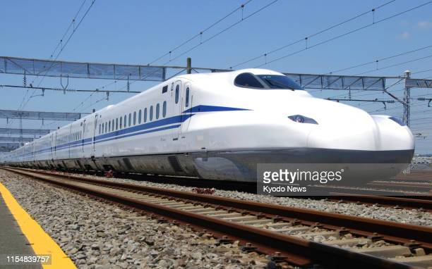 The newly developed N700S shinkansen bullet train undergoes a test of its emergency battery power system the first among the world's highspeed trains...