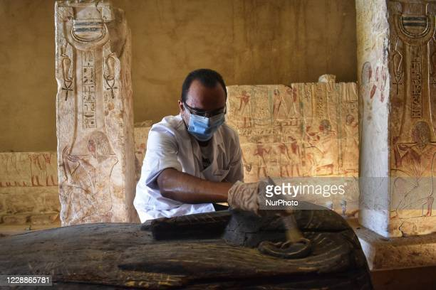 the newly discovered burial site near Saqqara burial ground where 59 coffins belong to 26th Dynasty priests top officials and elites were discovered...