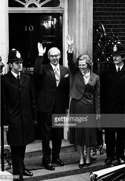 The newly elected Conservative Prime Minister Margaret Thatcher with her husband Dennis outside 10 Downing Street after her 1979 election victory