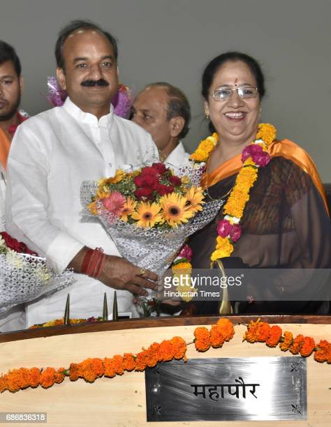 The Newly elected Mayor of East Delhi Municipal Corporation Neema Bhagat and Deputy Mayor Bipin Bihari Singh after the election at Udyog Sadan Patpar...