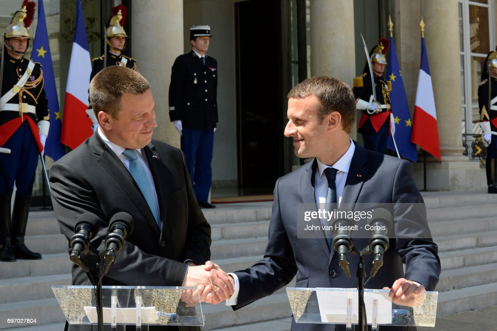French President Emmanuel Macron Receives Prime Minister of Estonia  Juri Ratas