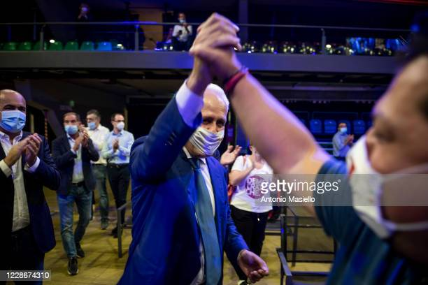 The newly elected President of the Tuscany Region Eugenio Giani attends a political meeting to celebrate the victory after the results of the...