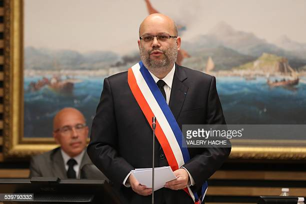 The newly elected rightwing mayor of Nice Philippe Pradal delivers next to President of the AlpesMaritimes' departmental council Eric Ciotti a speech...
