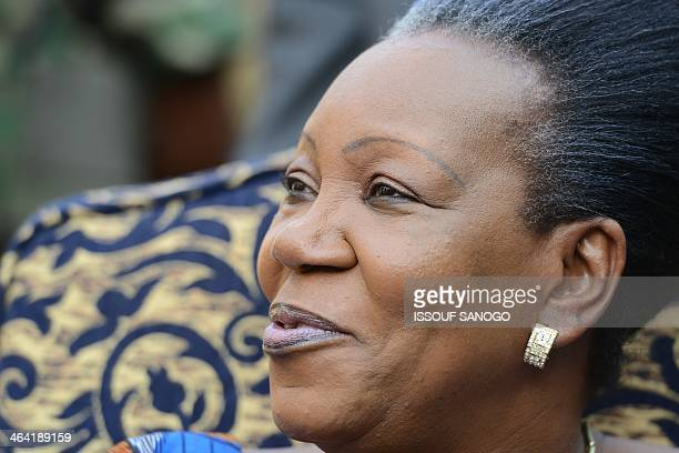 The newly elected transitional President of the Central African Republic Catherine SambaPanza gives a press conference on January 21 2014 in Bangui...