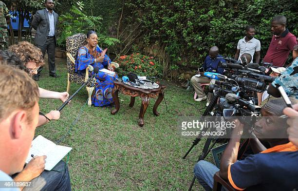 The newly elected transitional President of the Central African Republic Catherine Samba-Panza gives a press conference on January 21, 2014 in...