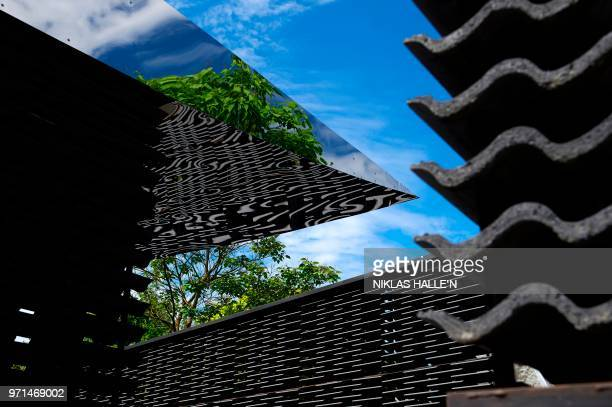 The newly installed Serpentine Gallery 2018 Pavilion designed by Mexican architect Frida Escobedo is pictured during its press preview in Kensington...