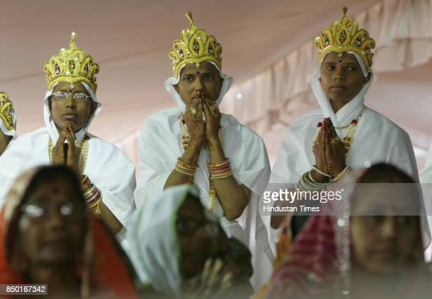 The newly oath taken Jain mathajis and their family members participates in the Jain digambar muni diksha programme held at Jain pilgrim town...