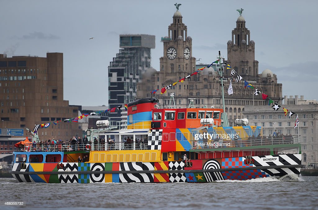 Peter Blake Creates A Dazzle Ferry On The Mersey : News Photo