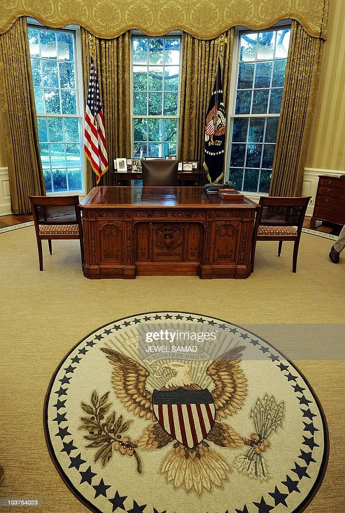 oval office wallpaper. The Newly Redecorated Oval Office Of White House With New Carpet, Couches And Wallpaper