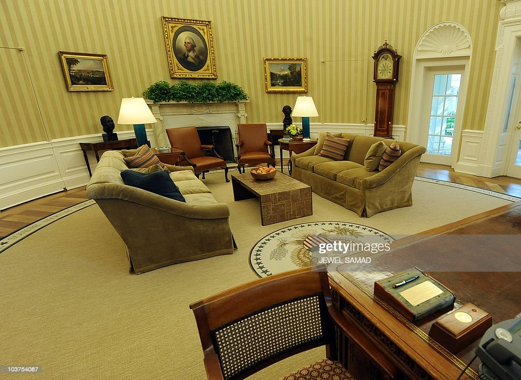 The Newly Redecorated Oval Office Of White House With New Carpet Couches And Wallpaper