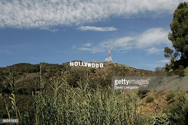 The newly refurbished Hollywood Sign is seen atop of Mt Lee after Los Angeles Mayor Antonio Villaraigosa added a finishing touch of paint to complete...