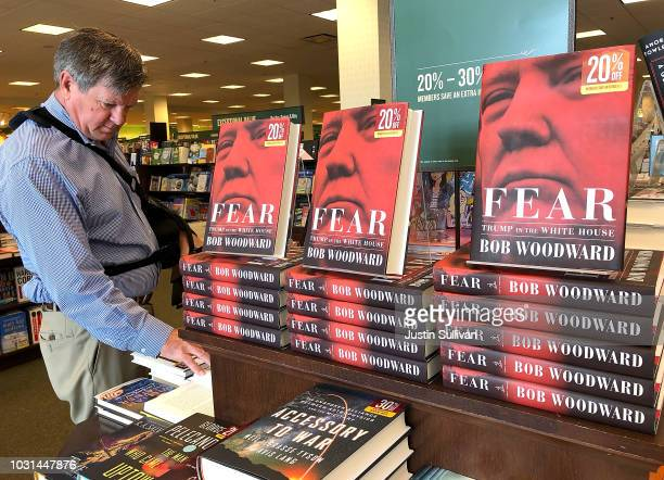 The newly released book 'Fear' by Bob Woodward is displayed at a Barnes and Noble bookstore on September 11 2018 in Corte Madera California The new...
