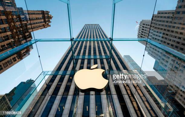 The newly renovated Apple Store at Fifth Avenue is pictured on September 19, 2019 in New York City.