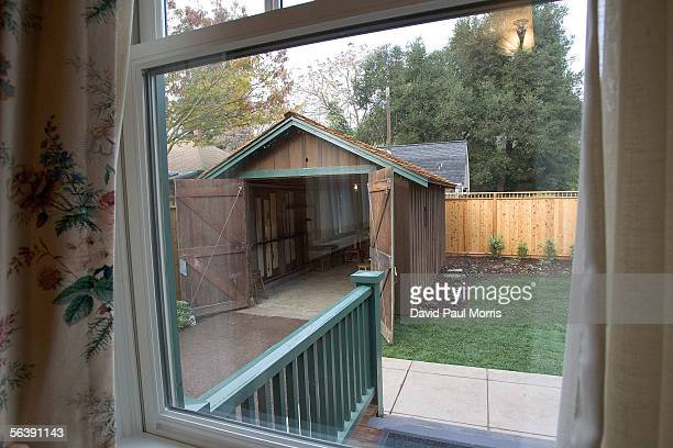The newly renovated HP garage on Addison Avenue is seen from the house where Bill Hewlett lived with his wife December 8, 2005 in Palo Alto,...