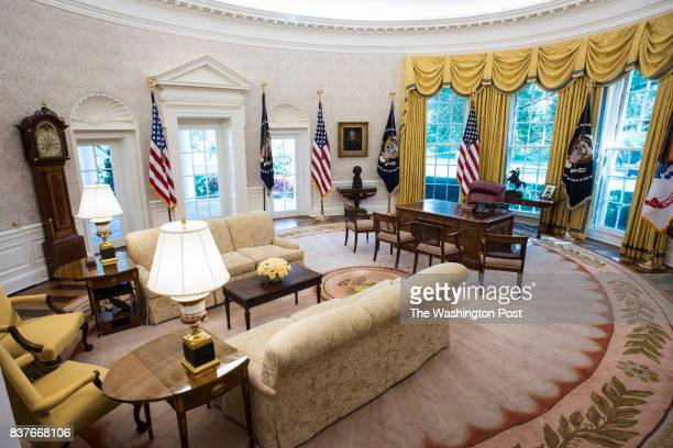 The newly renovated Oval Office is seen at the White House in Washington DC on Tuesday Aug 22 2017