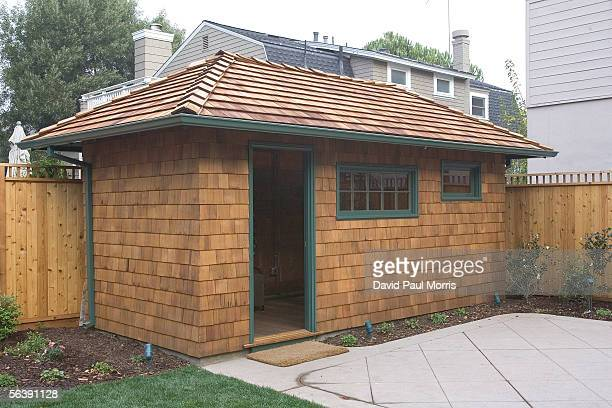 The newly renovated shed, where Dave Packard stayed, on Addison Avenue is seen December 8, 2005 in Palo Alto, California. In 1939 Bill Hewlett and...