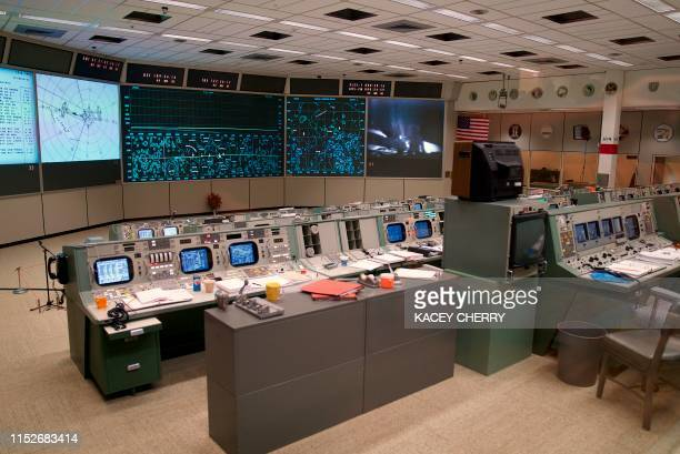The newly restored Apollo Mission Control Room is shown at NASA's Johnson Space Center in Houston on June 28 2019 50 years after handling the Apollo...