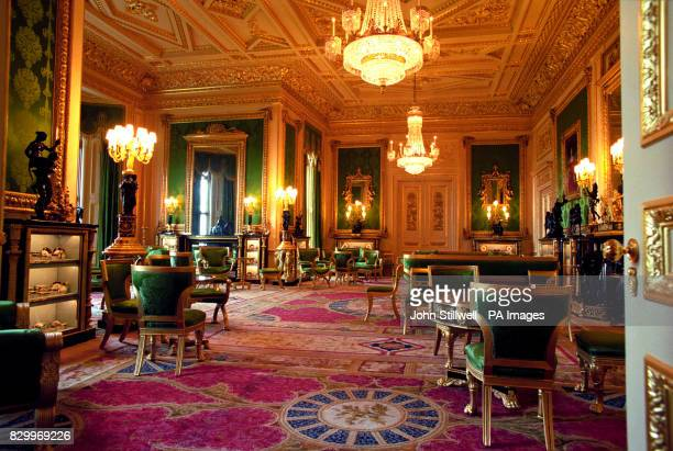 The newly restored Green Drawing room at Windsor Castle. The 37m completed restoration of the 1,000-year-old gothic castle, begun after the fire of...
